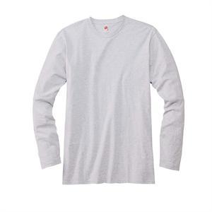 Ash - Hanes 498L Nano-T 4.5 oz 100% Cotton Long Sleeve Tee Shirts